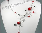 bridesmaids gift, wedding jewelry,red necklace,mothers days gift,delicate necklace,gift for her,swirls necklace,funky jewelry,valentine gift