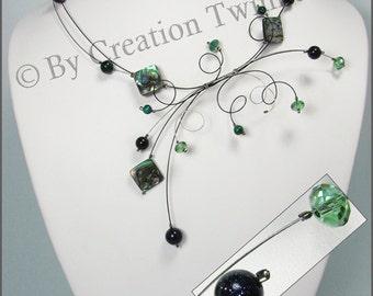sage green,dark blue necklace, swirls design necklace, green alabalone necklace, bridesmaids necklace, weddings jewelry, bridesmaids gifts