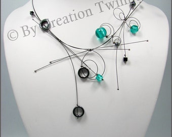 turquoise  and gray necklace, hematite necklace, bridesmaids necklace,unique design jewelry,contemporary necklace, funky, bridesmaids gifts