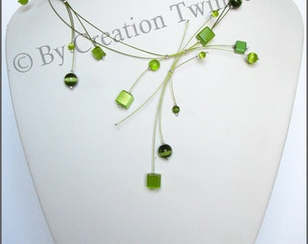 lime green square beads necklace, bridesmaids necklace, delicate necklace, bridesmaids gifts, funky jewelry,  contemporary necklace