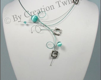 aqua necklace, swirls necklace, urbain necklace, modern necklace, bridesmaids gifts, delicate necklace, wedding jewelry