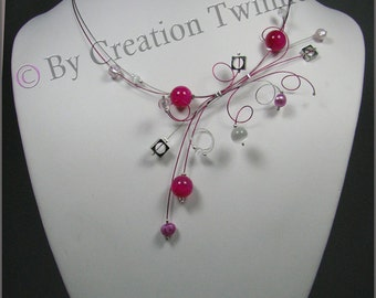 fushia, pink, white necklace, wedding necklace, bridesmaids necklace, delicate necklace, swirl necklace, bridesmaids gift, funky