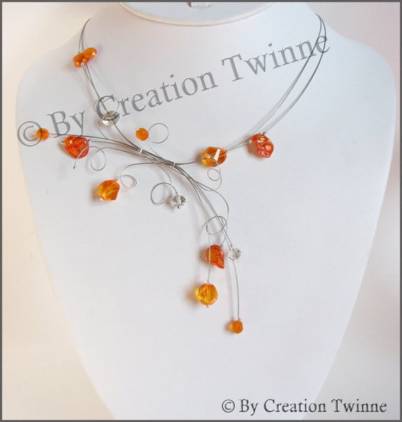 orange and gray necklace,bridesmaids necklace, delicate necklace, bridesmaids gifts, monthers days gift,  modern necklace, weddings jewelry