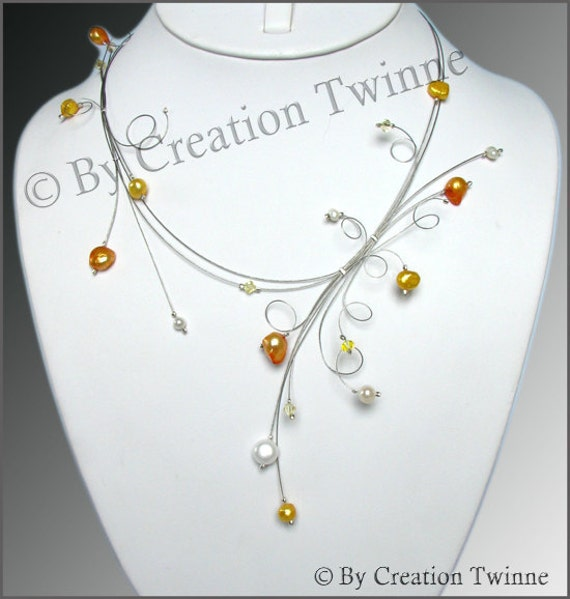 wedding jewelry, pearls necklace, orange necklace, yellow necklace, bridal gift, bridesmaids gifts, mothers day gifts