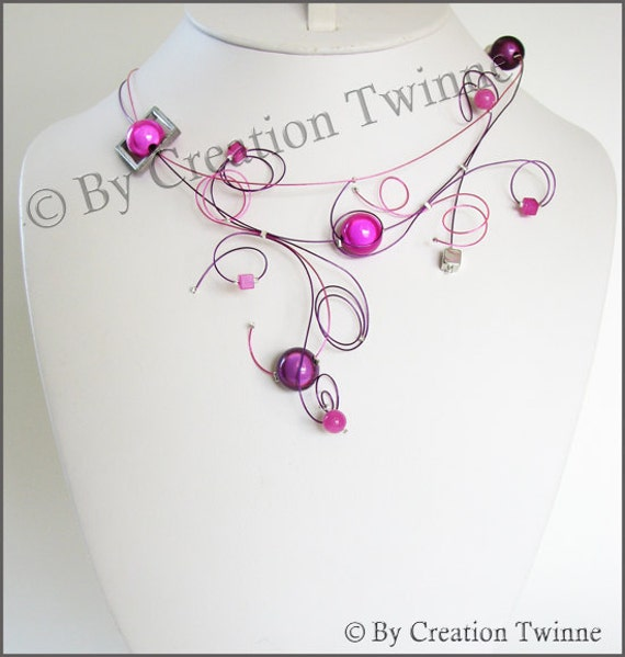 fucshia and purple  swirls neckalce, bridesmaids necklace, delicate necklace, nature jewelry, funky jewelry, bridesmaids gifts