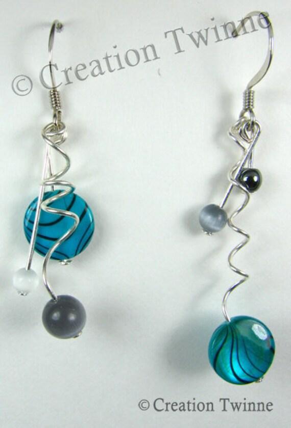 swirls, blue, gray, black,earrings, sea shell, glass, assymetrical earrings, bridesmaids earrings, delicate earrings, nature jewelry, swirls