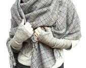Chunky wool  gray and blur plaid scarf shawl