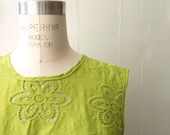 Neon green embroidery collar cotton blouse small