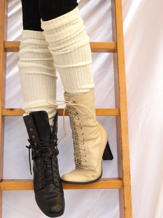 CREAM essential ribbed knit leg warmer