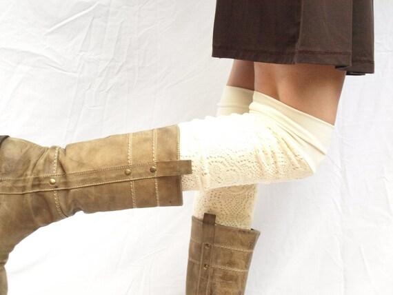 Cream bamboo knit  leg warmers