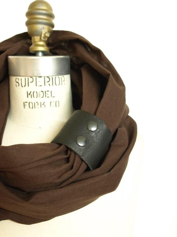 Chunky Brown linen circular infinity scarf
