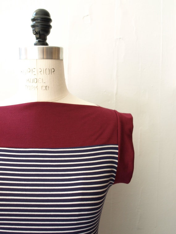 Raspberry  and navy  stripes nautical boat neck  tee Large