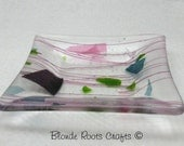 Kiln-Formed Glass Candy or Soap Dish  5 inch Square Confetti Glass with Pink Streamers