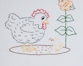 Chicken Embroidery Pattern Hen and chick embroidery pattern