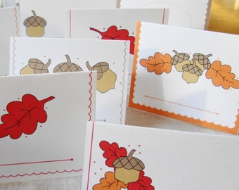 Acorns Printable Place Cards Autumn Place Cards Thanksgiving Table Decor