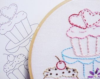 Cupcake Embroidery Pattern Hand Embroidery Cupcakes Pattern Cupcake Embroidery Design