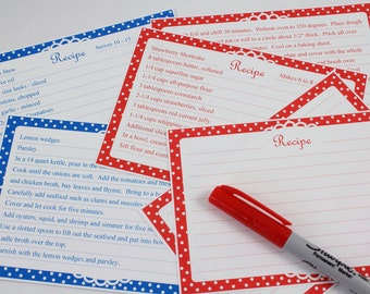 Printable Editable Recipe Cards Polka Dot  Four By Six Polka Dot Pattern