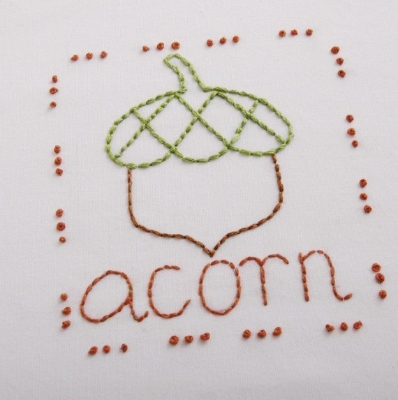 Acorn Embroidery Pattern Packet