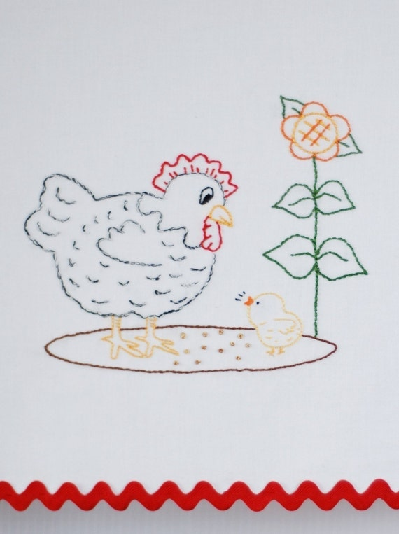 Chicken Embroidery Pattern Hen and chick embroidery pattern Chicken embroidery design
