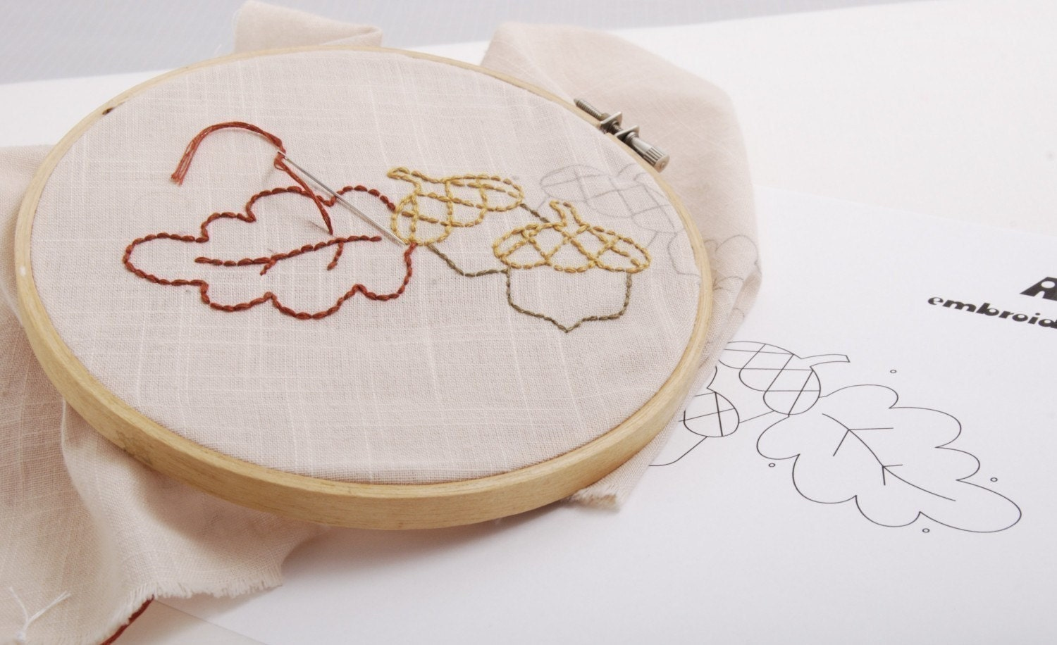 Acorn embroidery pattern packet design autumn leaves