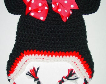 Custom Made Minnie Mouse crochet  Hat