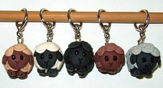 Flock of Sheep Stitch Markers For Needles Or Looms
