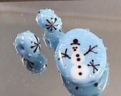 Holiday Snowman Glass Bead Set Handmade by Artist