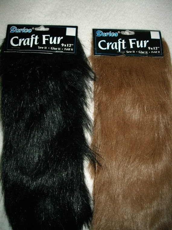 2 Faux Fur Craft Fur 9x12 Each 1brown Iblack By Mjcreation