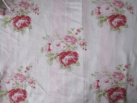 SALE - Rachel Ashwell Grand Floral Stripe Fabric Shabby Chic Pink Roses Discontinued