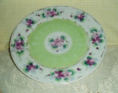 Victorian Handpainted decorative plate , Painted Violets - Violas, Shabby Cottage Chic / ROMANTIC antique