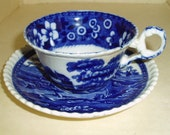 Copeland Spode Tower cup and saucer , Stroke on Trent , England cobalt blue and white Transferware - TREASURY ITEM Collectible