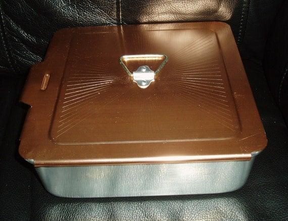 Vintage Mirro Copper Lid Covered Aluminum Cake Pan Square