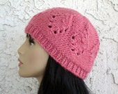Mauve Hand Knit Cloche Beanie Wool 50% OFF Clearance Sale