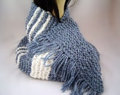 Hand Knit Scarf Wrap in Navy and White Boucle 50% OFF Clearance Sale