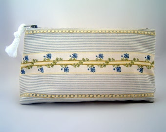 Handmade Zippered Pouch Blue Flower Stripe