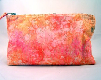 Handmade Zippered Pouch Color Splash Pink