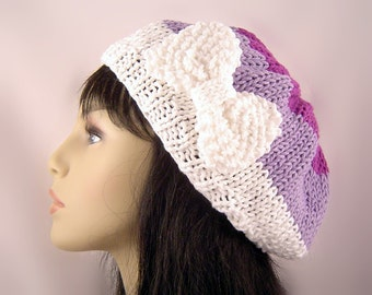 Hand Knit Classic Beret with Bow Light Weight Cotton