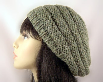 Custom Slouchy Beret Wool Beehive Knitted