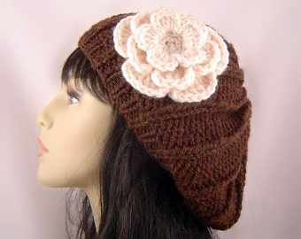 Custom Hand Knit Slouchy Beret Wool