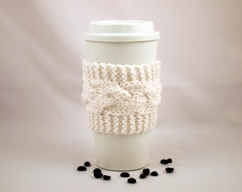 White Hand Knit Coffee To Go Sleeve Cozy Cable Stitch