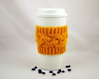 Gold Hand Knit Coffee To Go Sleeve Cozy Cable Stitch Starbucks