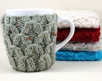 Frosty Green Fleck Hand Knit Coffee Mug Cozy Coaster