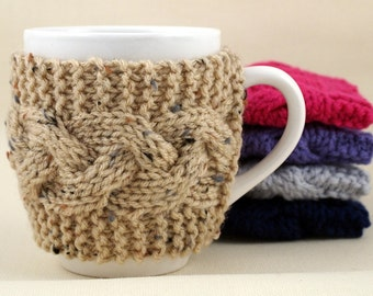 Buff Fleck Hand Knit Coffee Mug Cozy Cable