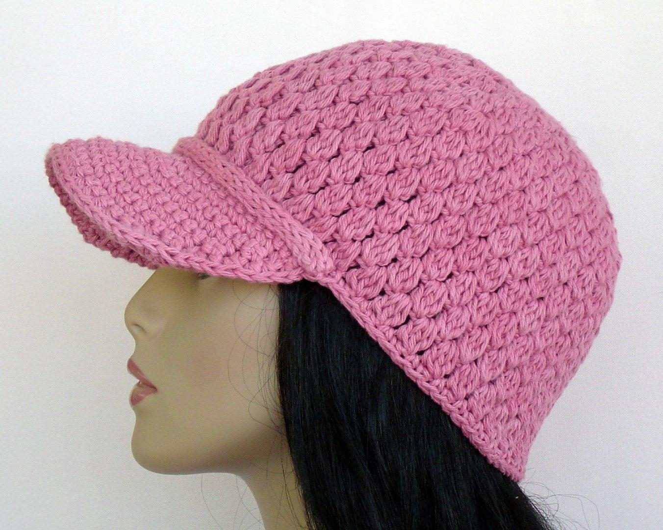 50 crochet baseball cap cotton in mauve clearance