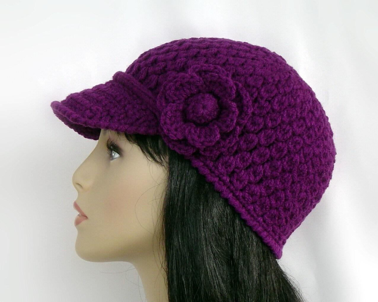 crochet baseball cap eggplant purple