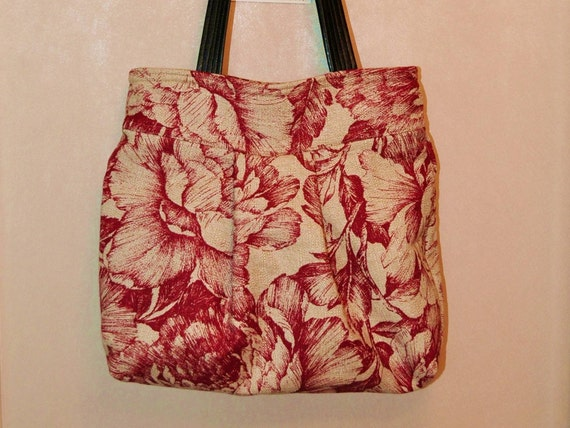 TOOTLES JACQUI Boutique Bag created with a Heavy Natural LINEN Floral Designer Fabric - - - (Ready to Ship)