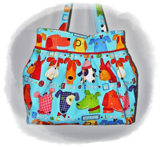 TOOTLES JACQUI Boutique Bag - Dogs Spotted Everywhere Designer Fabric - - - (Ready to Ship)
