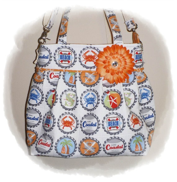TOOTLES Jacqui Boutique Bag - Michael Miller BEACH Bottle Caps Designer Fabric - - - (Ready to Ship)