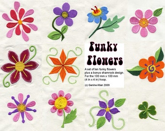 Funky Flowers Embroidery Design Set - Machine Embroidery Designs