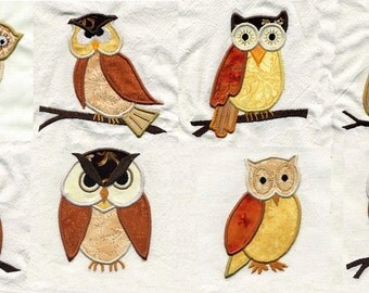 Applique Owls  Embroidery Design Set - Machine Embroidery Designs